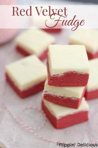 Red velvet fudge, with a cream cheese frosting fudge layer. Naturally gluten-free!