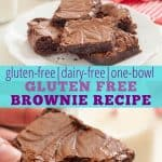 gluten free brownies on a white plate, with a hand holding one gluten free brownie with a bite taken out