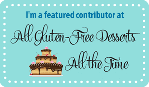 "Light Blue field with cartoon three layer cake with chocolate frosting and text ""I'm a featured contributor at all gluten-free desserts all the time"""