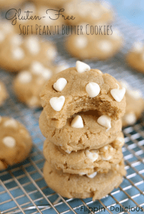 Gluten-Free Soft Peanut Butter Cookies with White Chocolate Chips #glutenfree