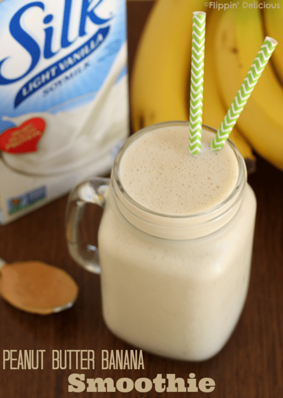 Smooth and creamy dairy-free peanut butter banana smoothie, made with soymilk #dairyfree