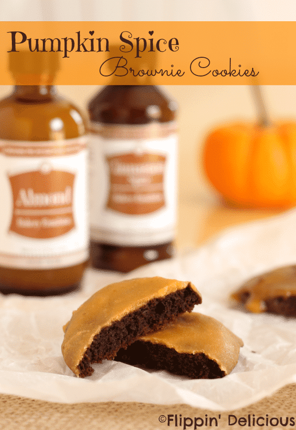Fudgy gluten-free chocolate brownie cookies dipped in a sweet cinnamon spiced pumpkin glaze.