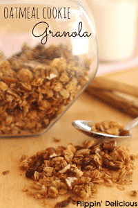 gluten-free oatmeal cookie granola, refined sugar free and sweetened with honey.