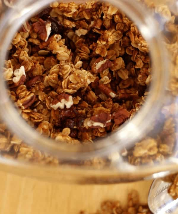 Sweet and crunchy gluten free oatmeal cookie granola. Inspired by one of my favorite cookie combos, oatmeal and dried cranberries with toasted pecans, crisp rice cereal, and just a hint of cinnamon all coated in the natural sweetness of honey.