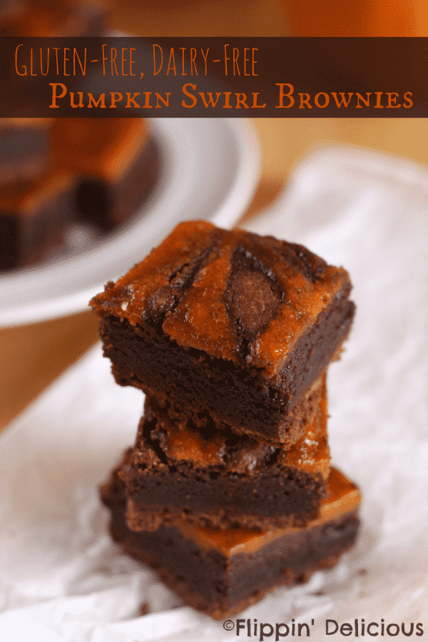 Gluten-free, dairy-free pumpkin swirl brownies. Super fudgy with a swirl of pumpkin pie filling. YUM!