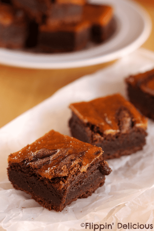 Gluten free dairy free pumpkin swirl brownies. Super fudgy gluten-free, dairy-free brownies with a swirl of pumpkin pie filling. YUM!