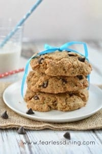 Giant and chewy, gluten-free chocolate chip cookies don't get any better than this!