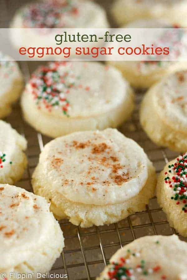 Gluten-free soft sugar cookies with a sweet and creamy eggnog frosting.