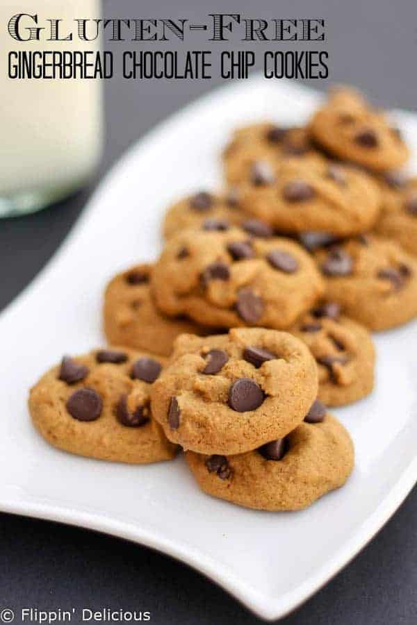 Soft and chewy gluten-free gingerbread chocolate chip cookies.