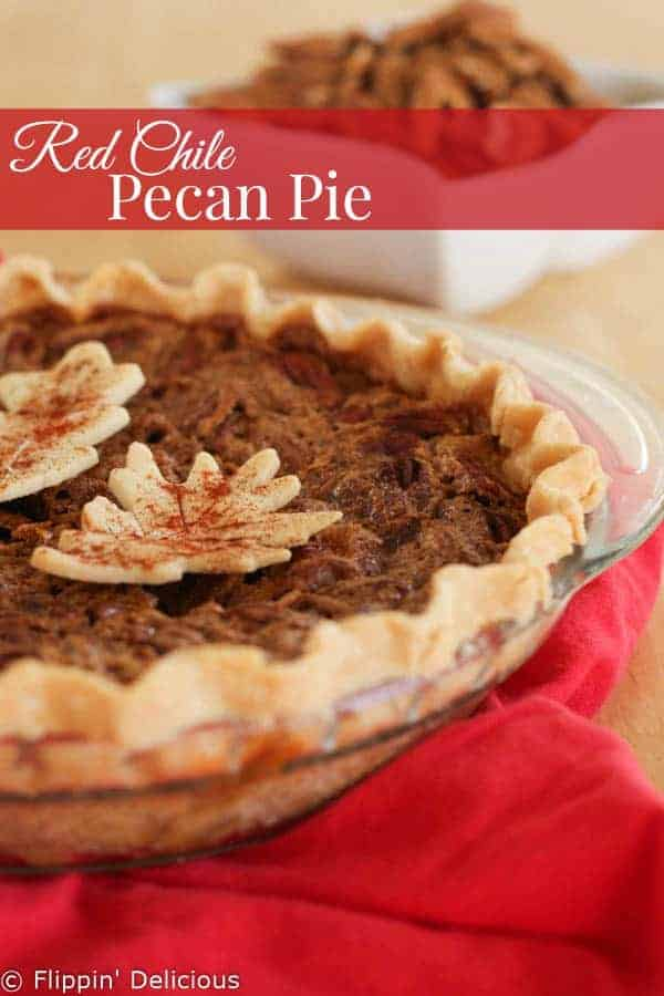 Gluten-Free Red Chile Pecan Pie brings together 2 of my favorite things. The red chile adds a subtle heat and depth, and keeps the pecan pie from being too sweet.