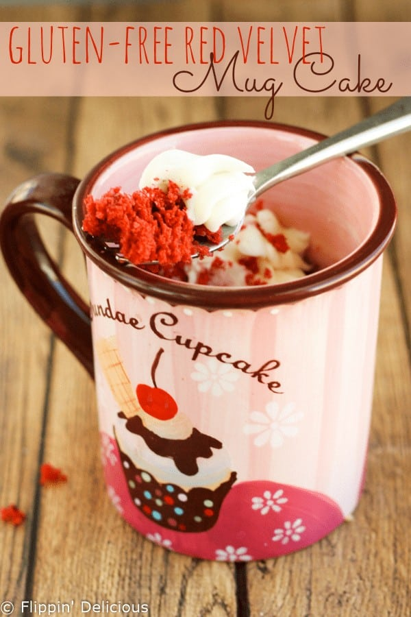 Moist gluten-free red velvet mug cake with sweet cream cheese frosting. It takes just minutes to make in the microwave!