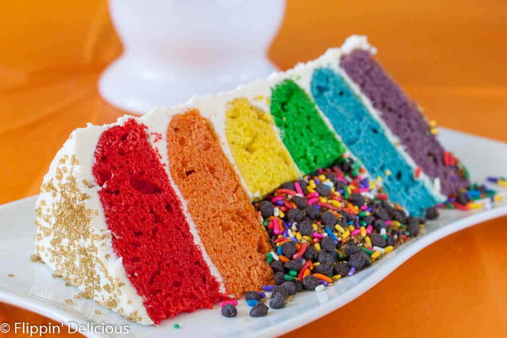 Rainbow Cake With Chocolate Frosting Recipe