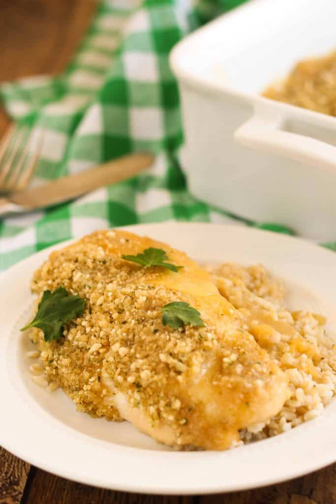 Gluten-Free Creamy Chicken Casserole is so easy to make! Swiss cheese, buttery breadcrumbs, and a creamy sauce made with a quick homemade gluten-free cream of condensed soup and apple juice.