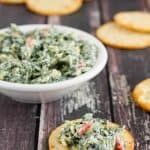 Gluten Free Skinny Spinach Artichoke Dip (made with greek yogurt)