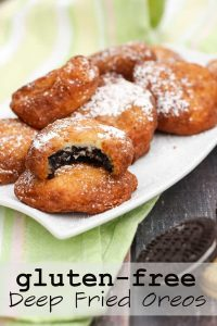 The classic state fair treat, now safe to eat. Gluten free deep fried oreos (and gluten free deep fried cookie dough), with a sweet and easy to make batter.