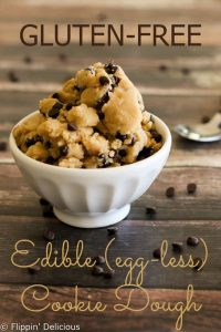 Gluten free edible cookie dough, perfect for eating by the spoon, topping brownies, or putting in ice cream.