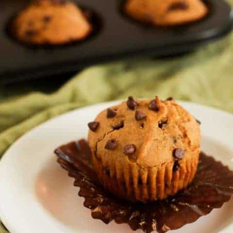 Gluten free pumpkin chocolate chip muffins. This recipe is perfect for fall, but I bake these gluten free pumpkin chocolate chip muffins all year long!