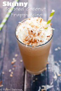 Skinny Toasted Coconut Frappuccino (gluten free, dairy free option)