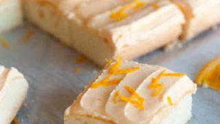 Gluten Free Soft Orange Frosted Sugar Cookie Bars