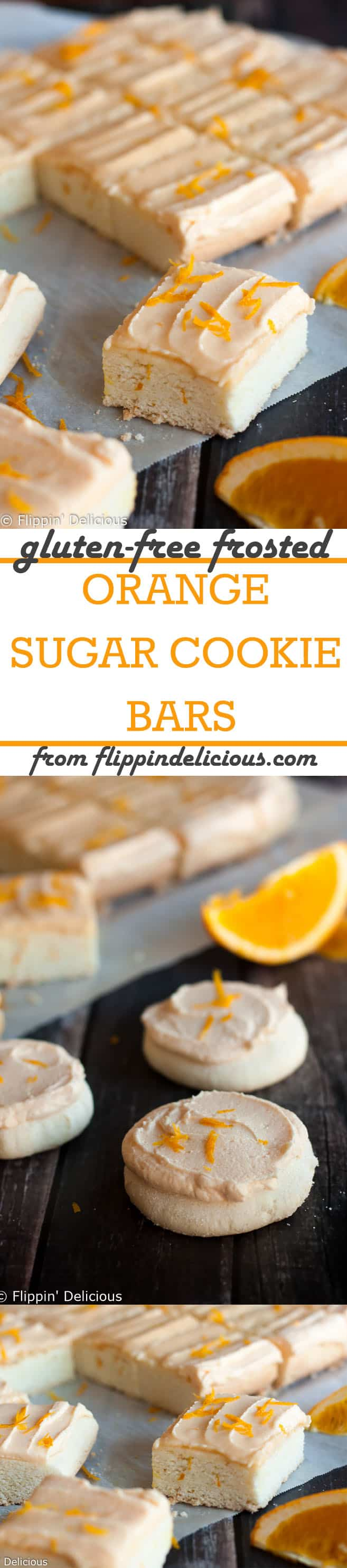 Gluten Free Soft Orange Frosted Sugar Cookie Bars are easy to make and have a vibrant, bright burst of orange citrus flavor. These gluten free frosted sugar cookie bars are soft and cakey, and you can easily make them into cut-outs or drop cookies too!
