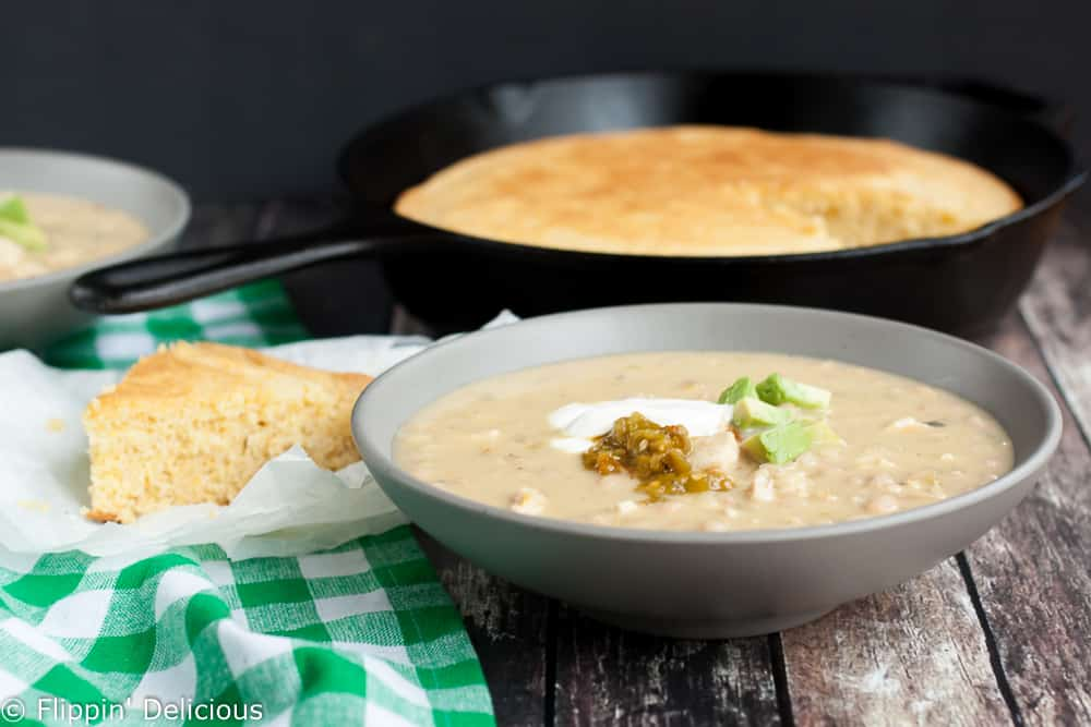 Warm and hearty green chile white bean chicken chili comes together in ...