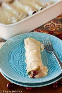 Gluten Free Cranberry Turkey Enchiladas (using Thanksgiving Leftovers)