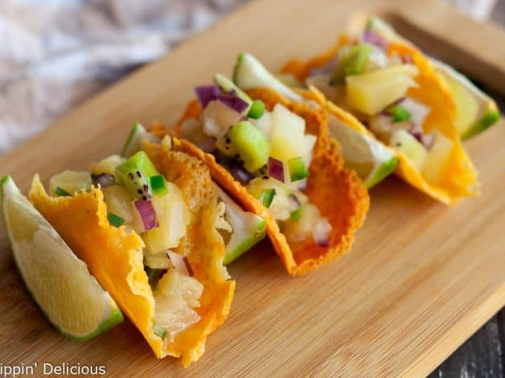Cheese Crisp Tacos with Pineapple Kiwi Fruit Salsa