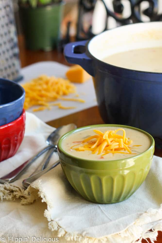 Gluten free cheddar cheese soup with ham is just what you need to warm you up. The days are turning cooler, and we're ready! There's nothing more comforting.