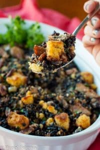 Gluten Free Cornbread Dressing (cajun style with wild rice, andouille sausage, and pecans)