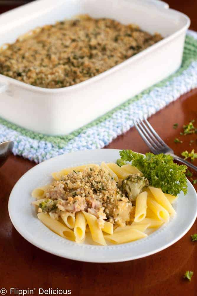 Gluten free chicken Cordon Bleu casserole is a total crowd-pleaser. Bake it up for dinner tonight!