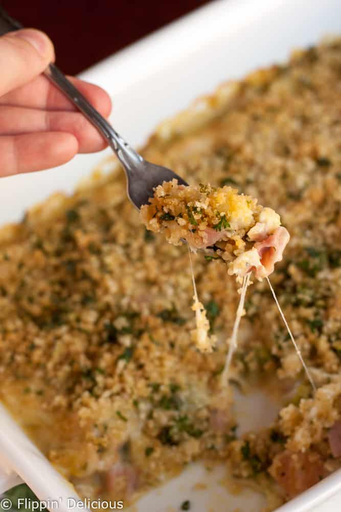 Gluten free chicken Cordon Bleu casserole is a total crowd-pleaser. Bake it up for dinner tonight!