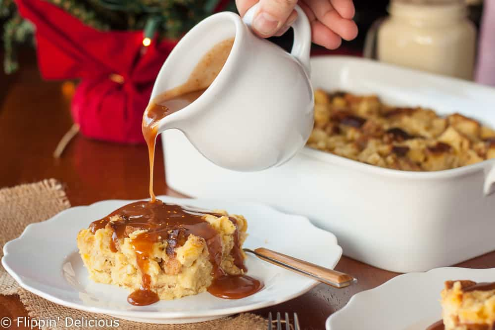 This easy gluten free eggnog bread pudding with bourbon caramel sauce is perfect for the holidays. (dairy free options) It makes a custardy holiday dessert, or an indulgent Christmas morning breakfast.