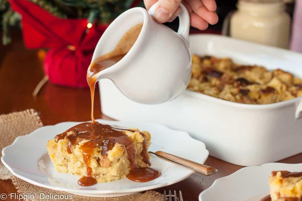 Gluten Free Eggnog Bread Pudding with Bourbon Caramel Sauce -