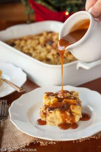 Gluten Free Eggnog Bread Pudding with Bourbon Caramel Sauce