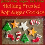 This gluten free vegan frosted soft sugar cookie cut out recipe are perfect for the holidays! The dough is easy to work with and the gluten free vegan frosted soft sugar cookie cut outs are free of the top 8 allergens, including dairy free and egg free.