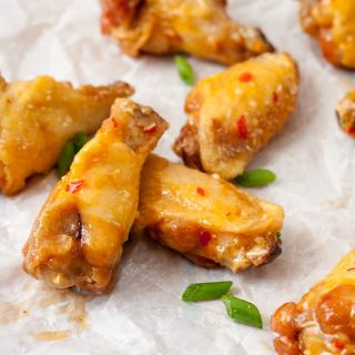 Naturally Gluten Free Asian Sweet Chili Wings with garlic have a mild flavor that everyone can enjoy. Perfect for the Big Game!