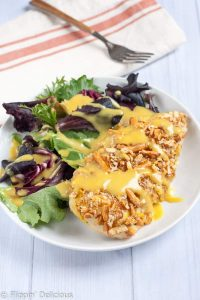 Gluten Free Pretzel Chicken with honey mustard makes an easy dinner that is healthier for you too!