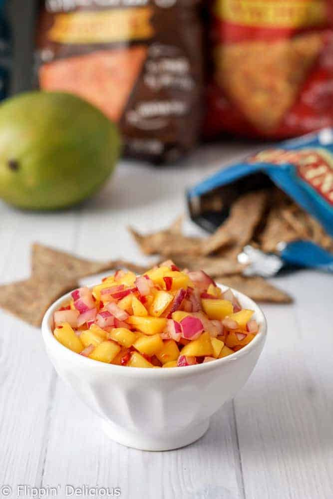 This Easy Chipotle Mango Salsa is sweet with a hint of heat and it has just 3 ingredients!