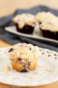 Gluten Free Blueberry Streusel Muffins are the perfect sweet start to your morning. The streusel crumb topping makes them really special!