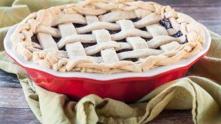 Gluten Free Dark Cherry Pie with lemon zest