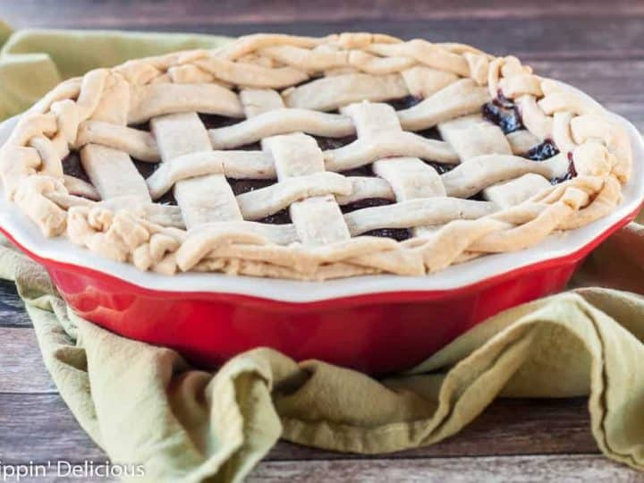 Gluten Free Dark Cherry Pie with lemon zest