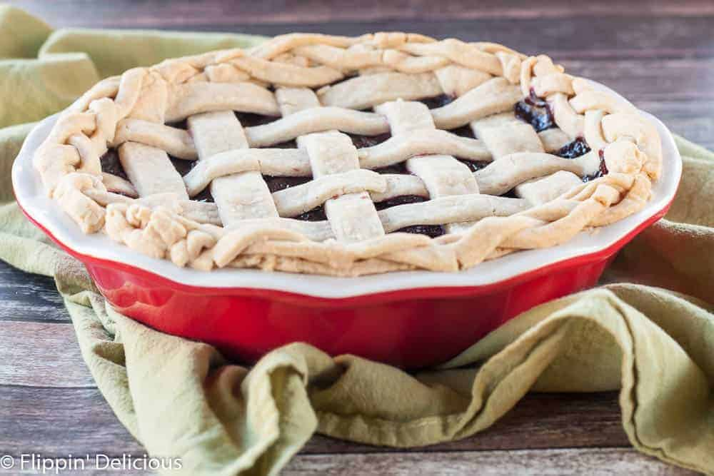 This gluten free dark cherry lemon pie is sweet, tart, and has just a hint of lemon zest making it taste bright and fresh.