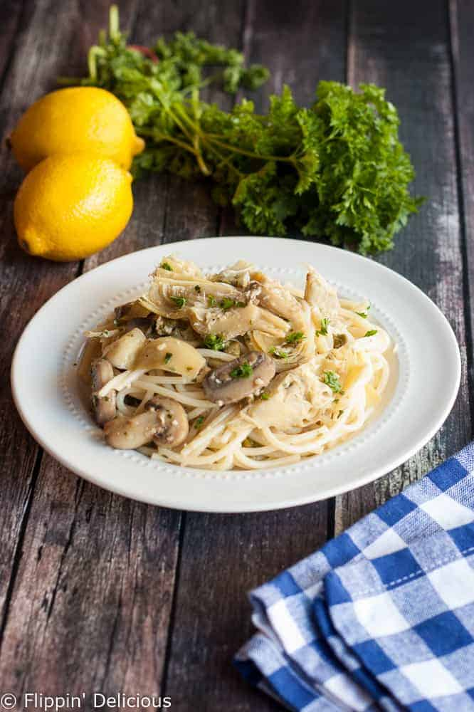 Everyone will rave about this simple gluten free pasta with white wine sauce. It makes a super easy weeknight meal!