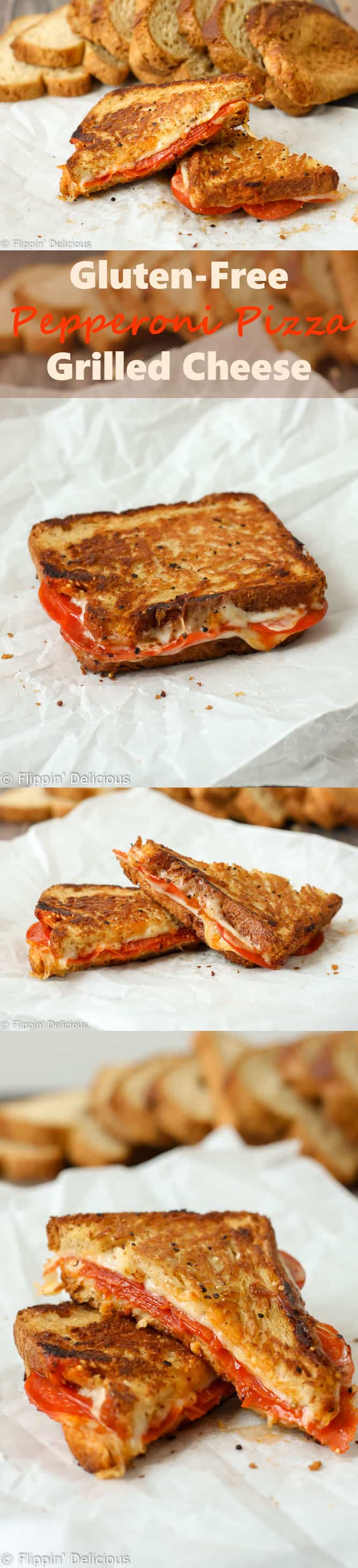 This Gluten Free Pepperoni Pizza Grilled Cheese Sandwich combines all of your favorite pizza flavors into a gooey gluten free grilled cheese sandwich!