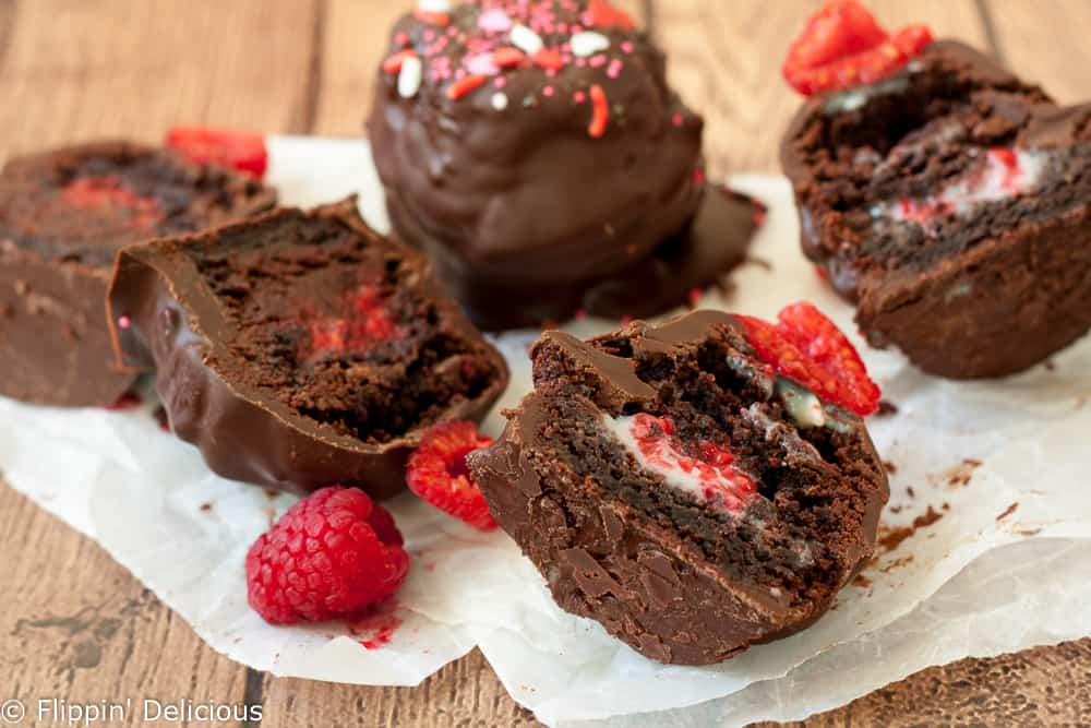 Gluten Free Raspberry Chocolate Truffle Brownie Bombs {with a dairy free option} make a decadent treat perfect for Valentine's Day, or anytime your sweet tooth needs satisfied.