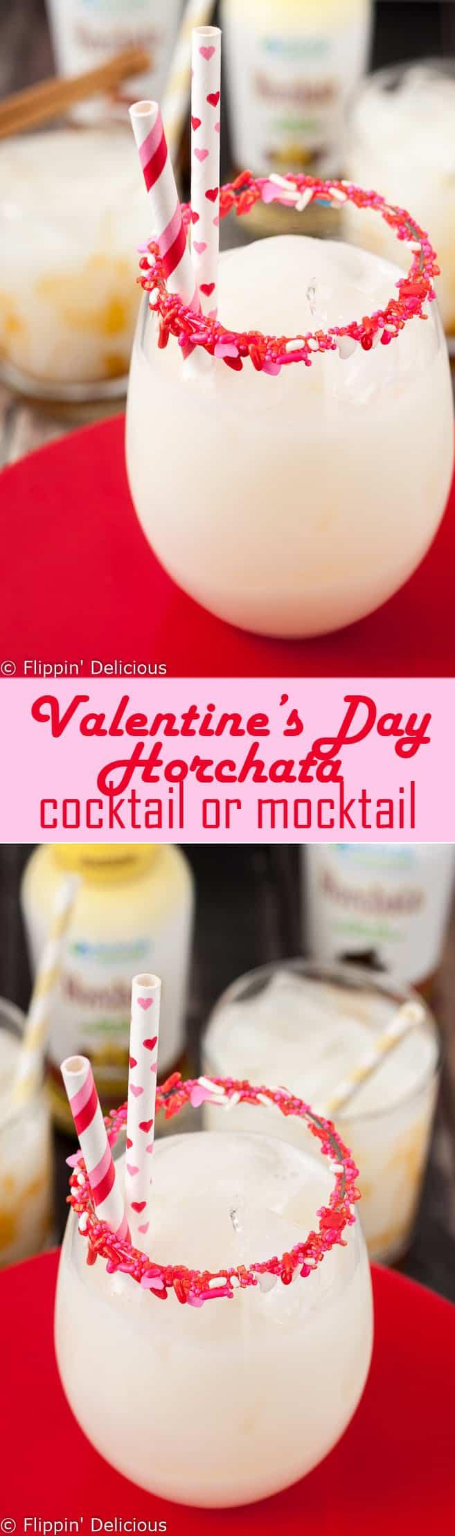 Easy Valentine's Day Horchata cocktail or mocktail . Just 2 ingredients + sprinkles!