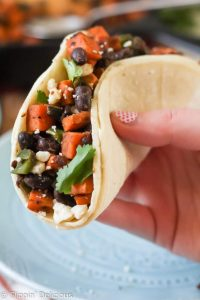 These Sweet Potato Black Bean Vegetarian Tacos make a quick and easy filling meal. The fire roasted poblano peppers add a great smoky flavor!
