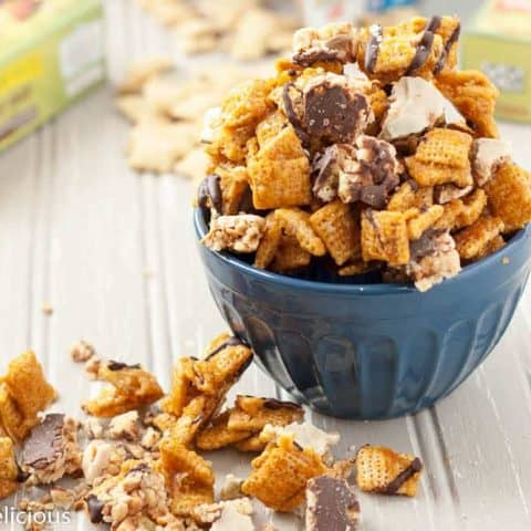 This Salted Caramel Chocolate Chex Mix make the perfect indulgent late night snack, and it is naturally gluten-free! (Dairy-free option too.)