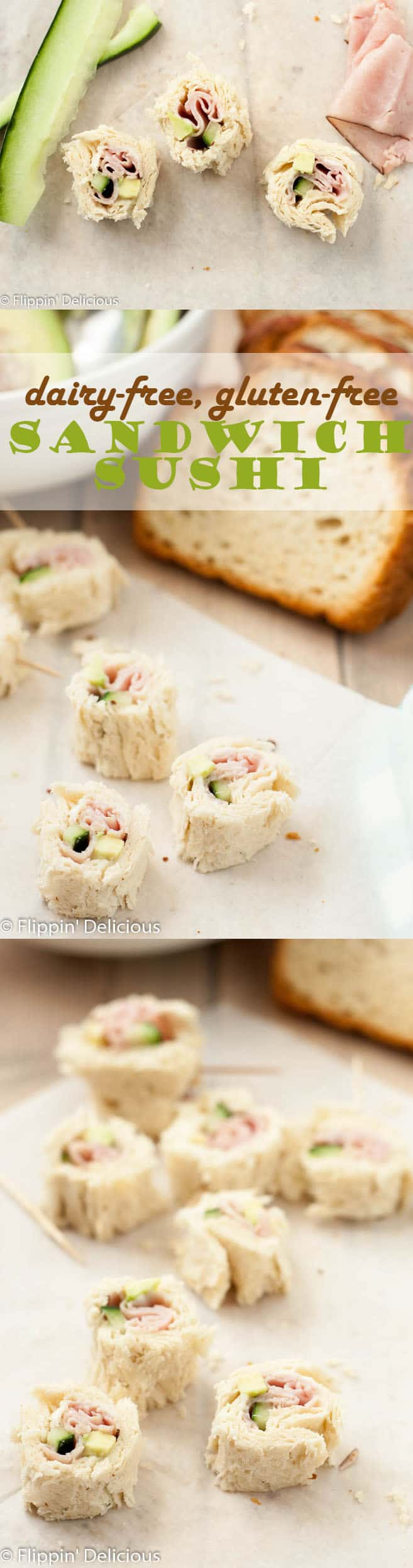 Dairy Free Gluten Free Sandwich Sushi makes a fun and portable lunch that everyone can enjoy. Fill your GF sandwich sushi with your favorite fillings!