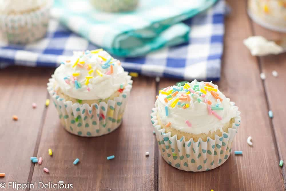 Celebrate with these easy Gluten Free Funfetti Cupcakes with Gluten Free Cake Batter Frosting!